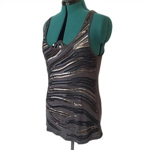 Melanie Lyne Grey Tank Top with Sequinned Front, M
